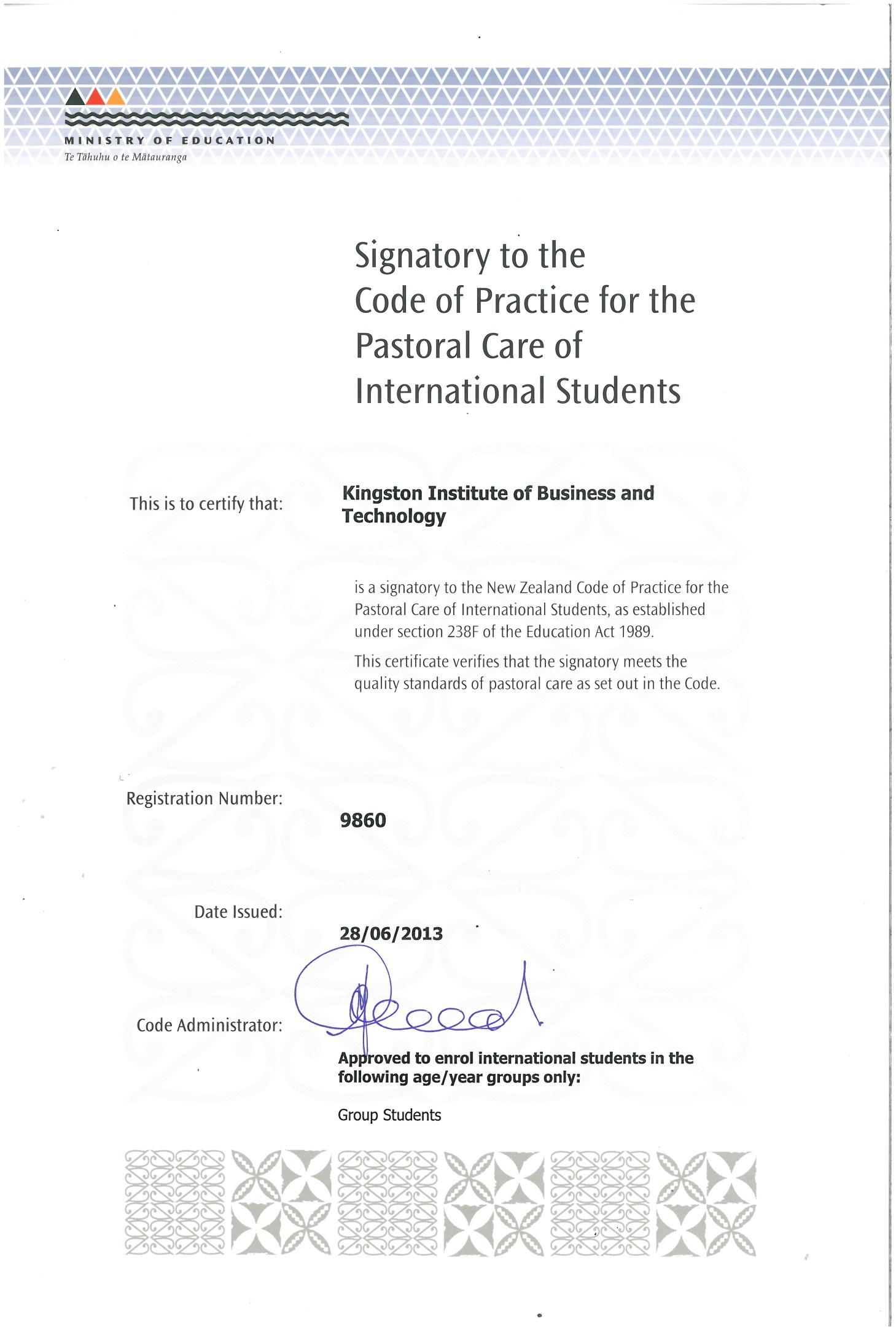 국제 학생 보호 및 관리를 위한 뉴질랜드 행동 규범에 대한 서명서