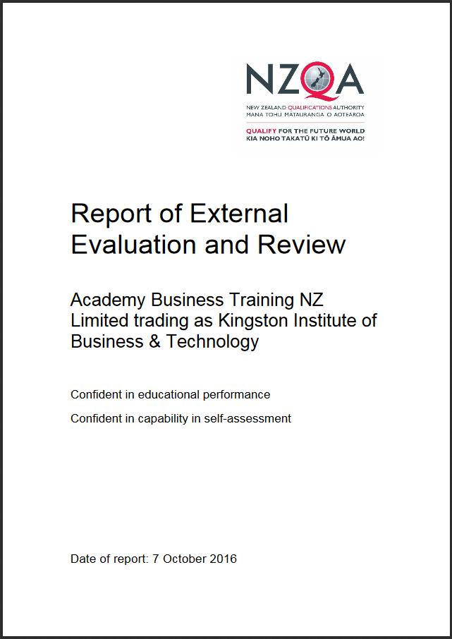 NZQA Report of External Evaluation and Review