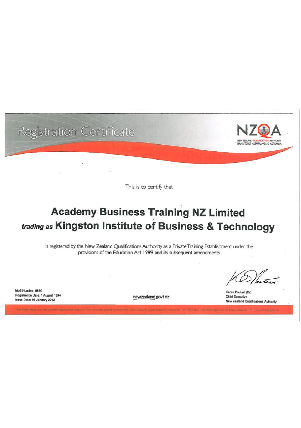 Registration Certificate of NZQA